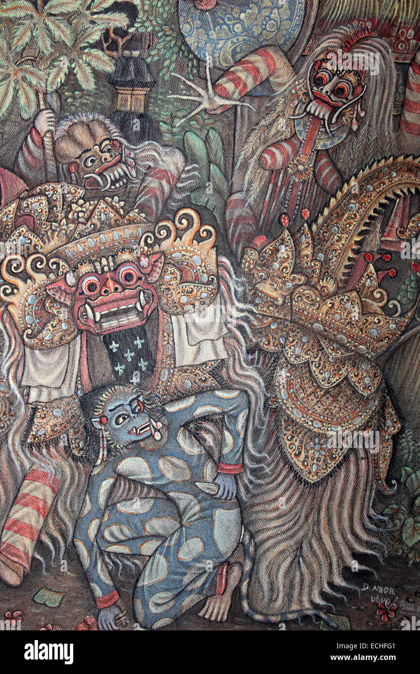 Bali painting of barong the demon god rangda the demon queen of the leyaks and the monkey god hanoman