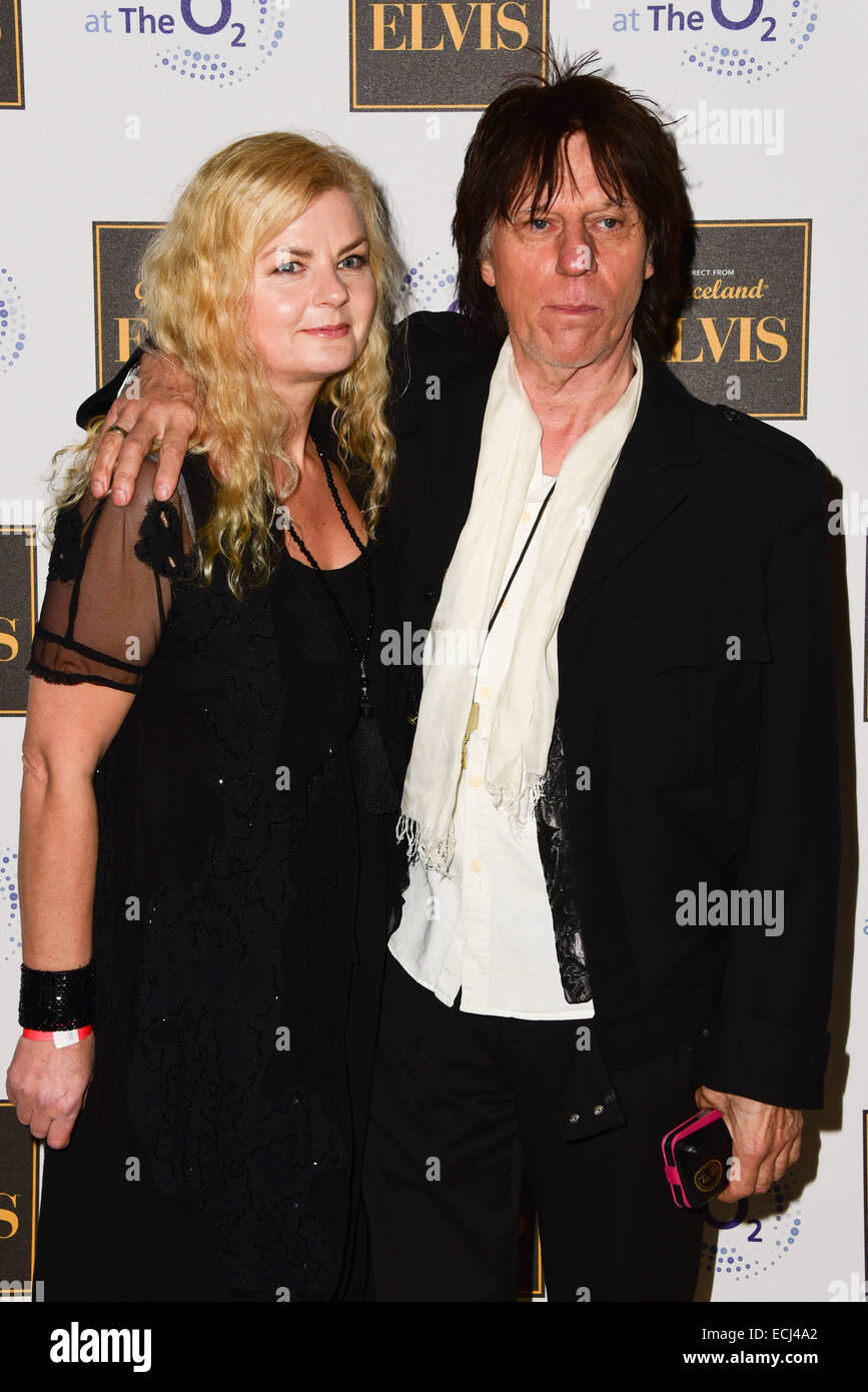 London,UK, 15th December 2014 : Sandra Cash, Jeff Beck attends the Elvis at The O2 Gala Night at the O2 in London. - Stock Image