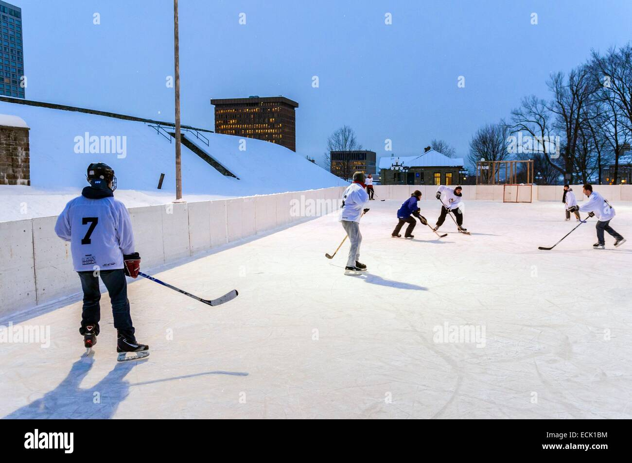 Canada, Quebec province, Quebec, ice hockey, old city center listed as World Heritage by UNESCO - Stock Image