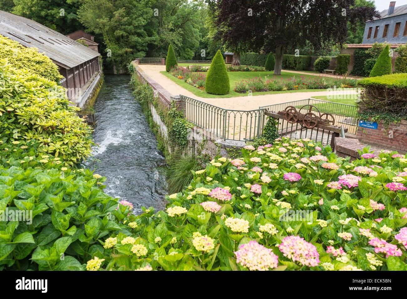 France, Seine Maritime, Eu, Fountains garden along the Bresle river - Stock Image