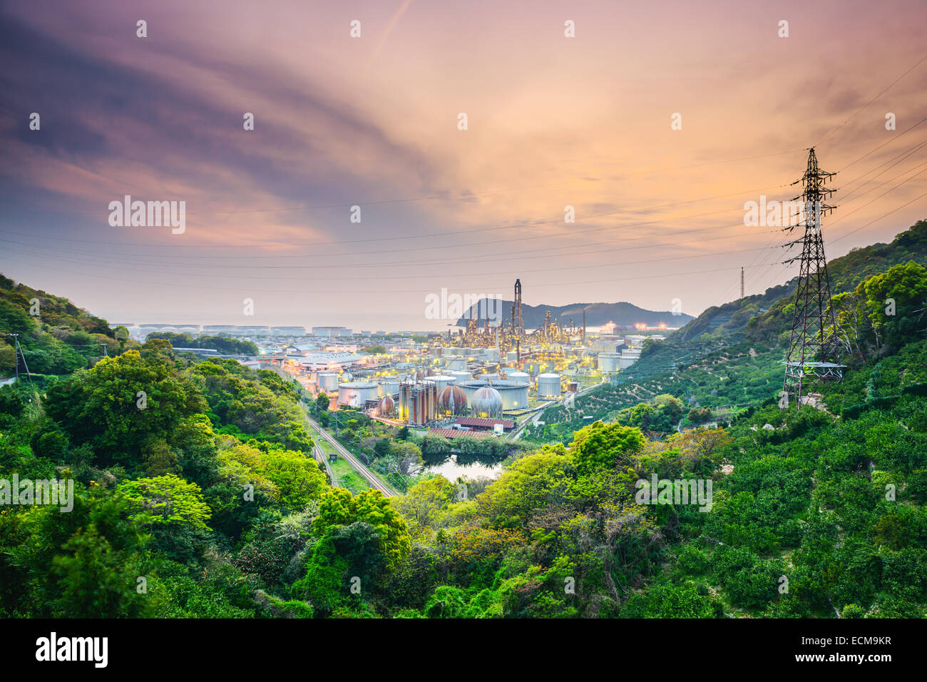 Wakayama, Japan oil refineries. - Stock Image