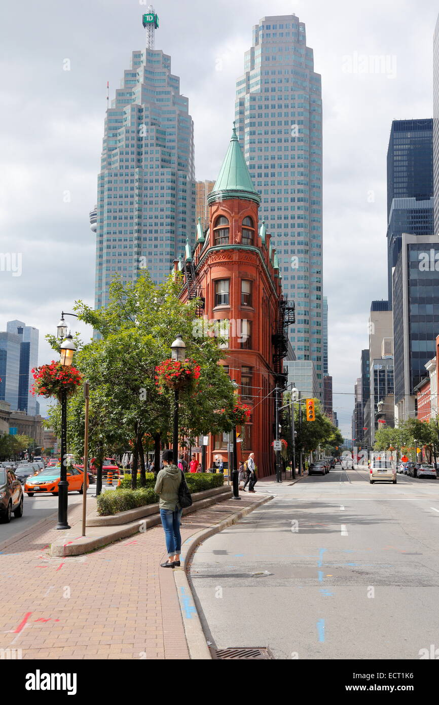 Skyscraper and Flatiron Building on Front Street, Toronto, Ontario Province, Canada - Stock Image