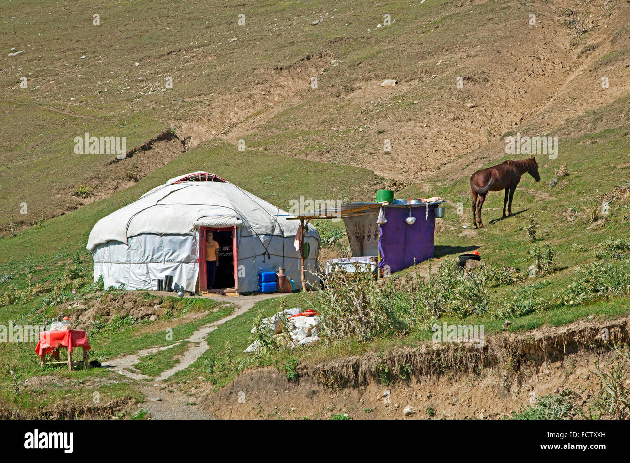Kyrgyz yurt, temporary summer nomad dwelling in the mountains in the Osh Province, Kyrgyzstan - Stock Image