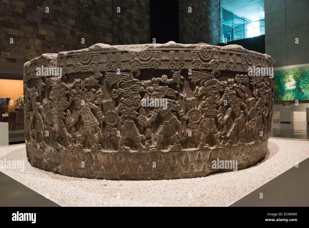 The National Museum of Anthropology,Mexico city,Mexico Tizoc Stone or Sacrificial Stone Stock Photo