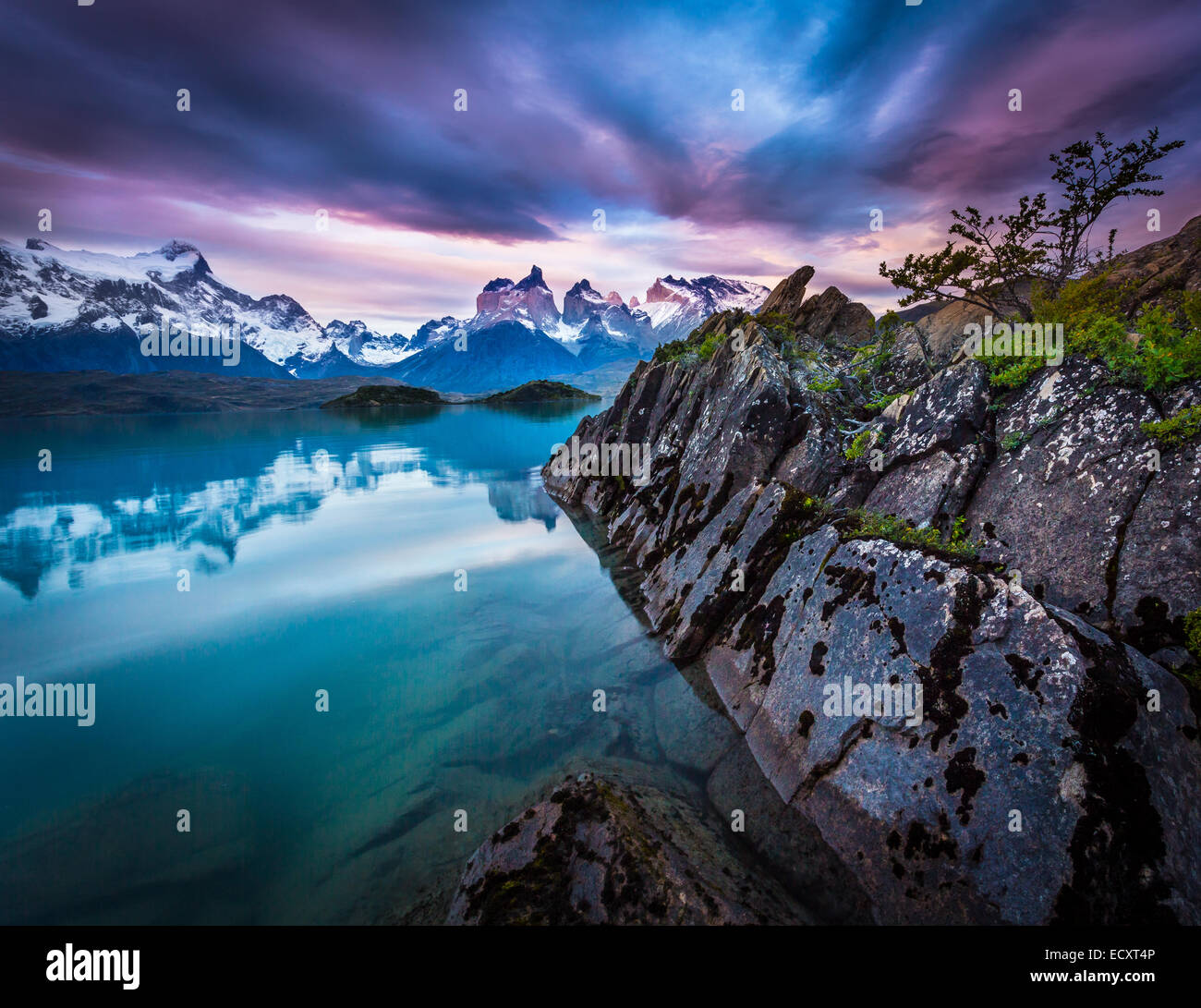 Torres del Paine National Park encompasses mountains, glaciers, lakes, and rivers in southern Chilean Patagonia. - Stock Image