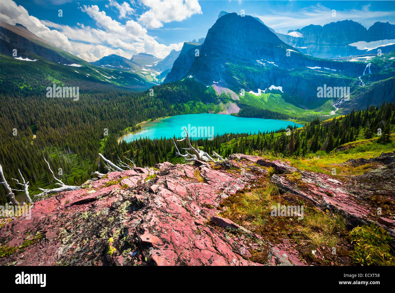 Grinnell Lake is located in Glacier National Park, in the U. S. state of Montana. - Stock Image