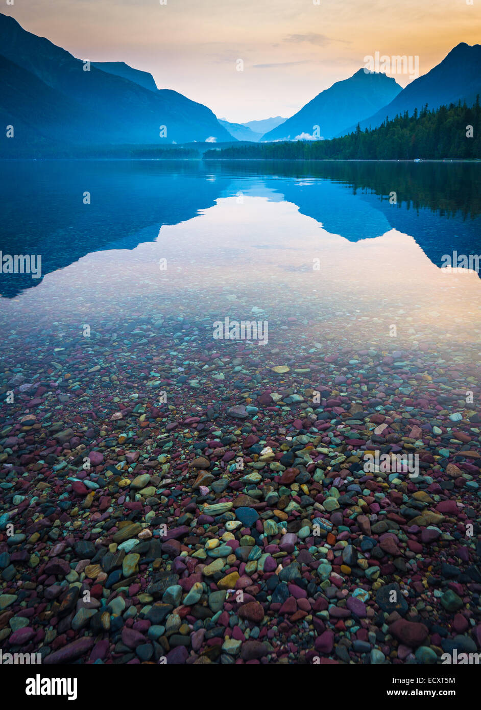 Lake McDonald is the largest lake in Glacier National Park, Montana - Stock Image
