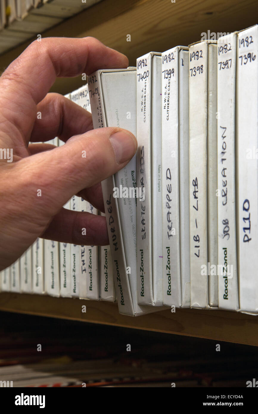 Old recording Sound Archives on tape and disk, stored in Clitheroe Castle, Lancashire, UK. 22nd December, 2014. - Stock Image