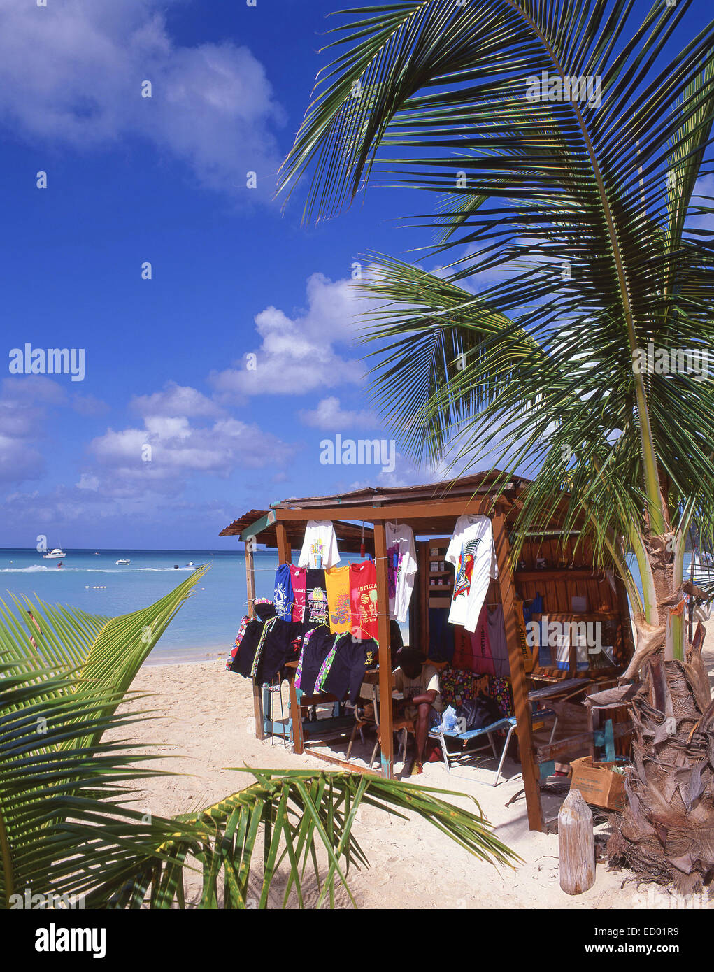 Beach clothing stall, Jolly Beach Resort, Saint Mary's Parish, Antigua, Antigua and Barbuda, Lesser Antilles, Caribbean - Stock Image