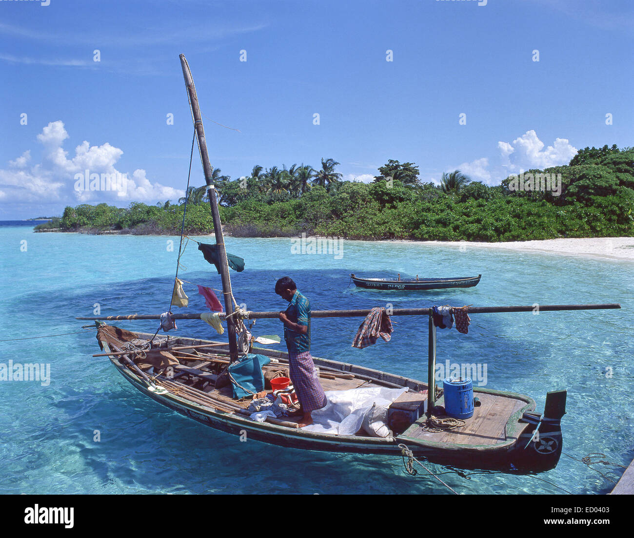 Dug-out fishing boat, Bandos, Kaafu Atoll, Republic of Maldives - Stock Image