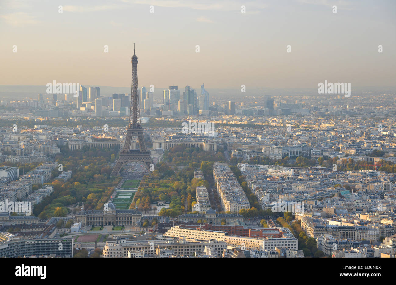 The Eiffel Tower and Paris city center at dusk, seen from the Montparnasse Tower - Stock Image