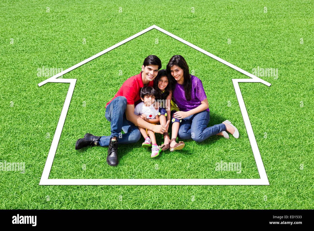 indian Parents with children park enjoy Stock Photo