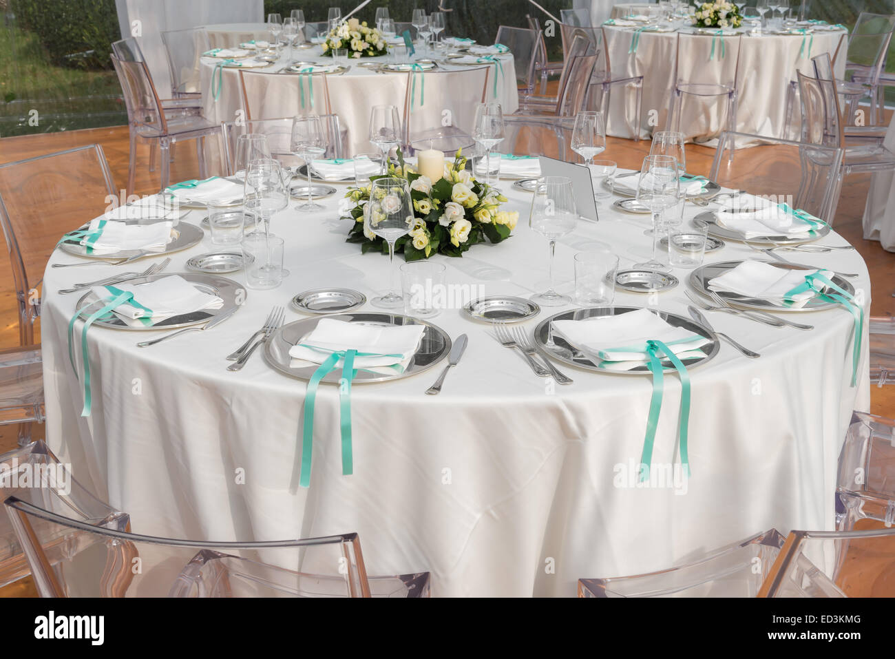 Table set for an event party or wedding reception - Stock Image