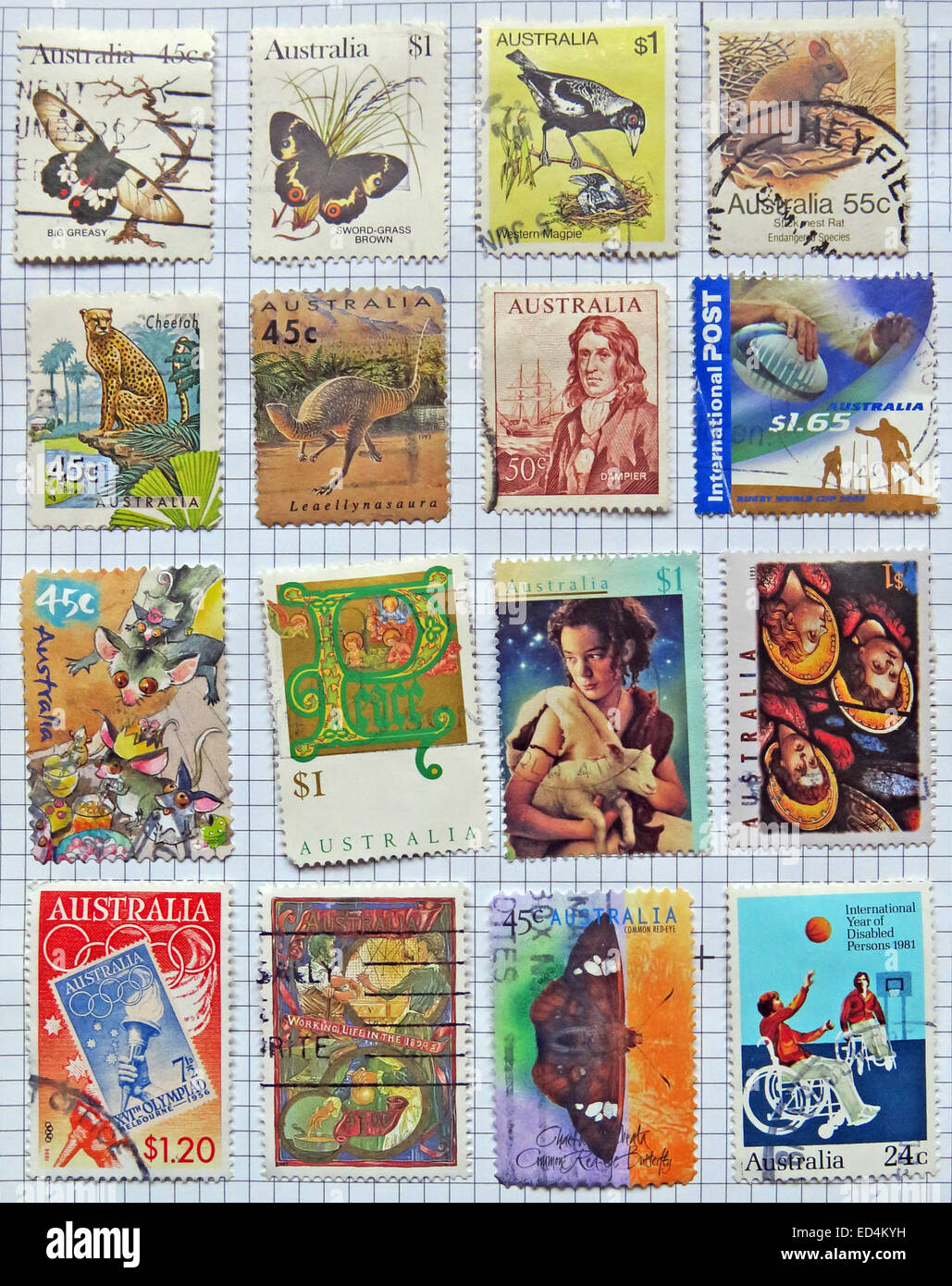 Australia,sheet,of,used,stamp,various,colourful,colorful,background,collecting,collection,commonwealth,cutout,hobby,in,old,philately,postage,stamp,stamps,stuck,white,stuck down,down,queen,closeup,close-up,age,aged,gotonysmith