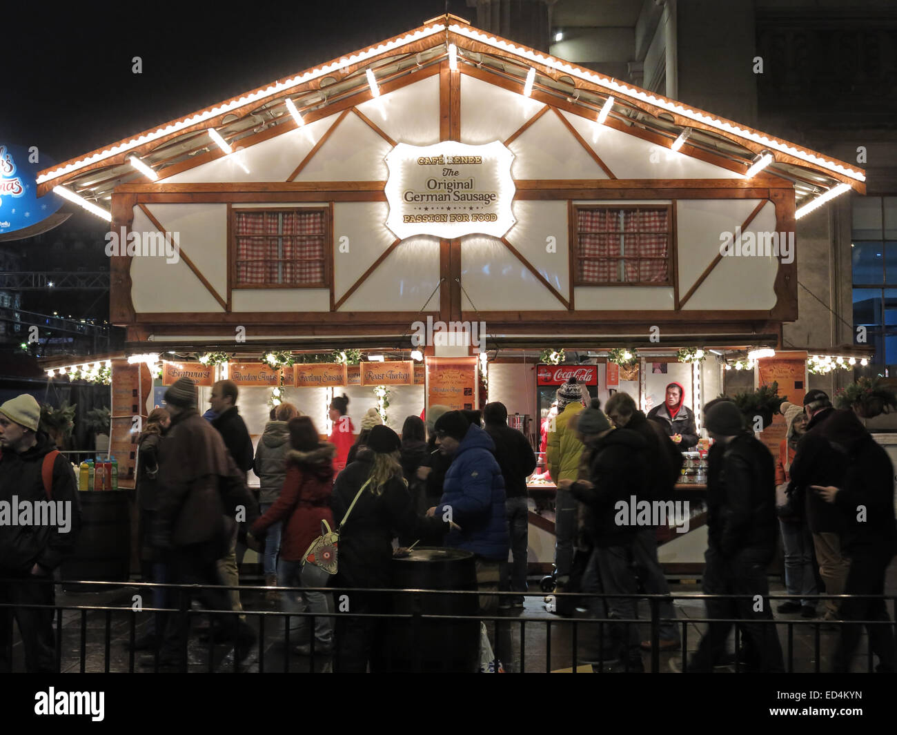 Princes St,Princes,St,Street,night,dusk,people,crowd,crowds,queue,Christmas,Edinburgh,Xmas,Cafe Renee,German,Sausage,House,stall,cafe,Renee,festive,market,markets,Gotonysmith