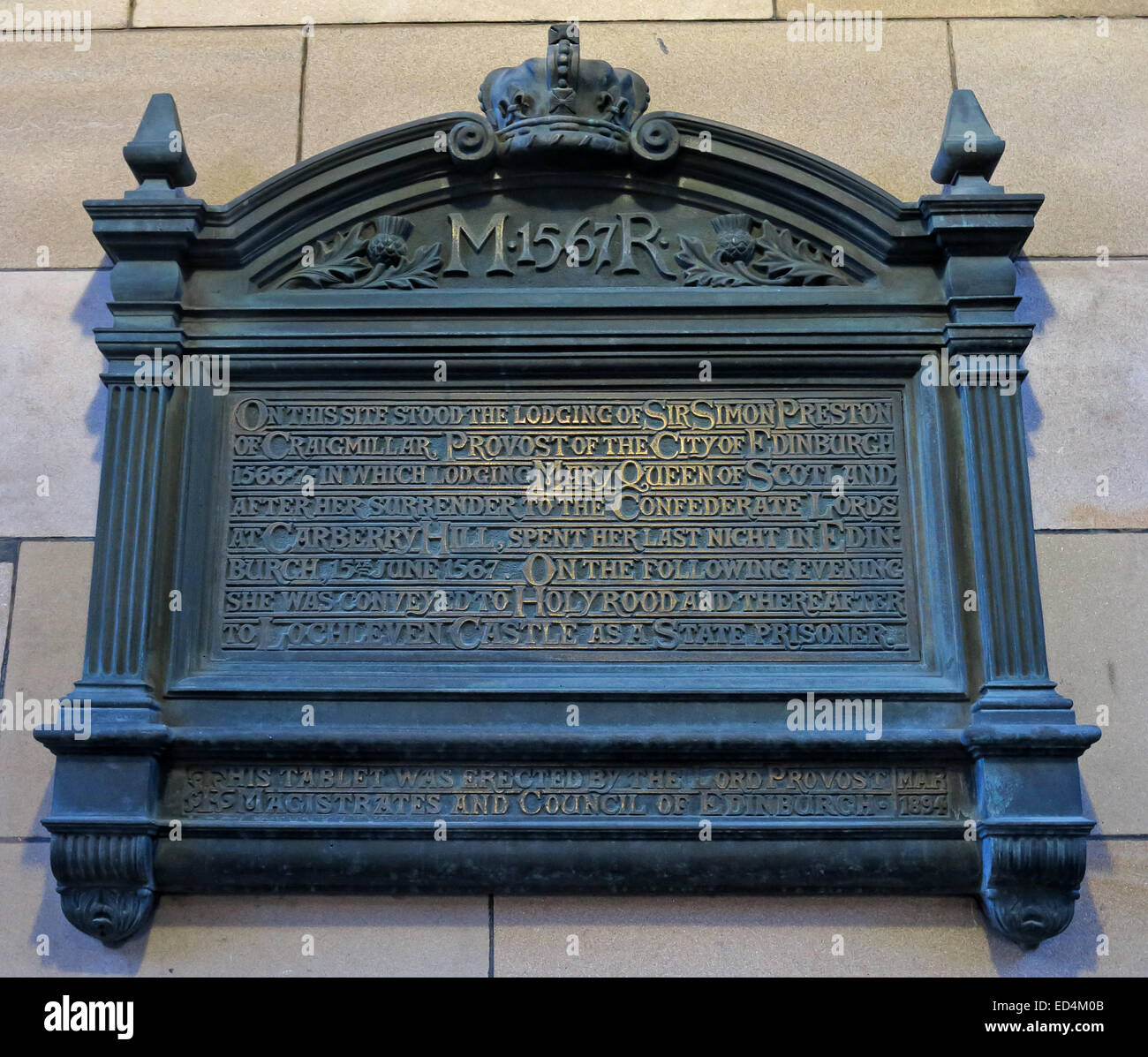 Erected,by,The Lord Provost,Magistrates,and,Council of Edinburgh,Scotland,Scots,Queen of Scots,memorial,Gotonysmith,entrance,to,The,Quadrant,of,the,City Chambers,Edinburgh,253 High Street,Edinburgh,EH1 1YJ,INSCRIPTION,ON,THIS,SITE,STOOD,THE,LODGING,OF,SIR SIMON PRESTON,OF,CRAIGMILLAR,PROVOST,OF THE CITY OF EDINBURGH,1566-7,1566,1567,IN,WHICH,MARY QUEEN OF SCOTLAND,AFTER,HER,SURRENDER,TO THE,CONFEDERATE LORDS,LORDS,AT CARBERRY HILL,SPENT HER LAST NIGHT IN,15TH JUNE 1567,EVENING SHE WAS,CONVEYED,HOLYROOD,AND THEREAFTER TO,LOCHLEVEN CASTLE,AS A,STATE PRISONER,THIS,TABLET,WAS,ERECTED,BY,THE,LORD,PROVOST,MAGISTRATES,AND,COUNCIL,OF,EDINBURGH,MAR,1894