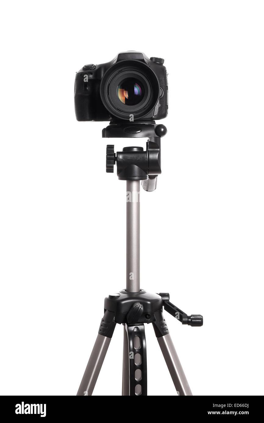 DSLR camera on tripod - Stock Image