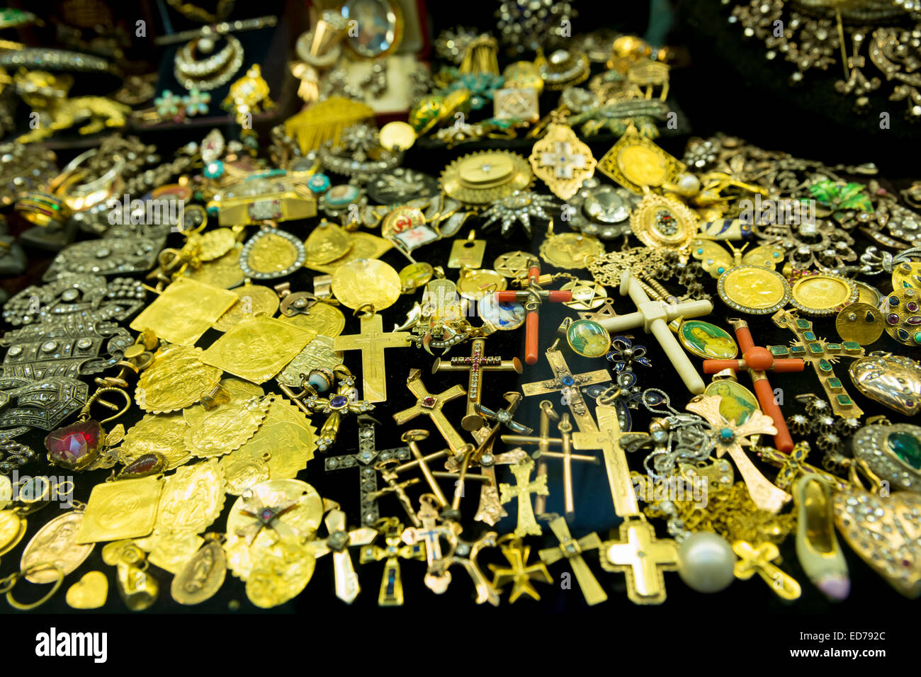 Gold jewelry religious icons and cross in The Grand Bazaar Stock