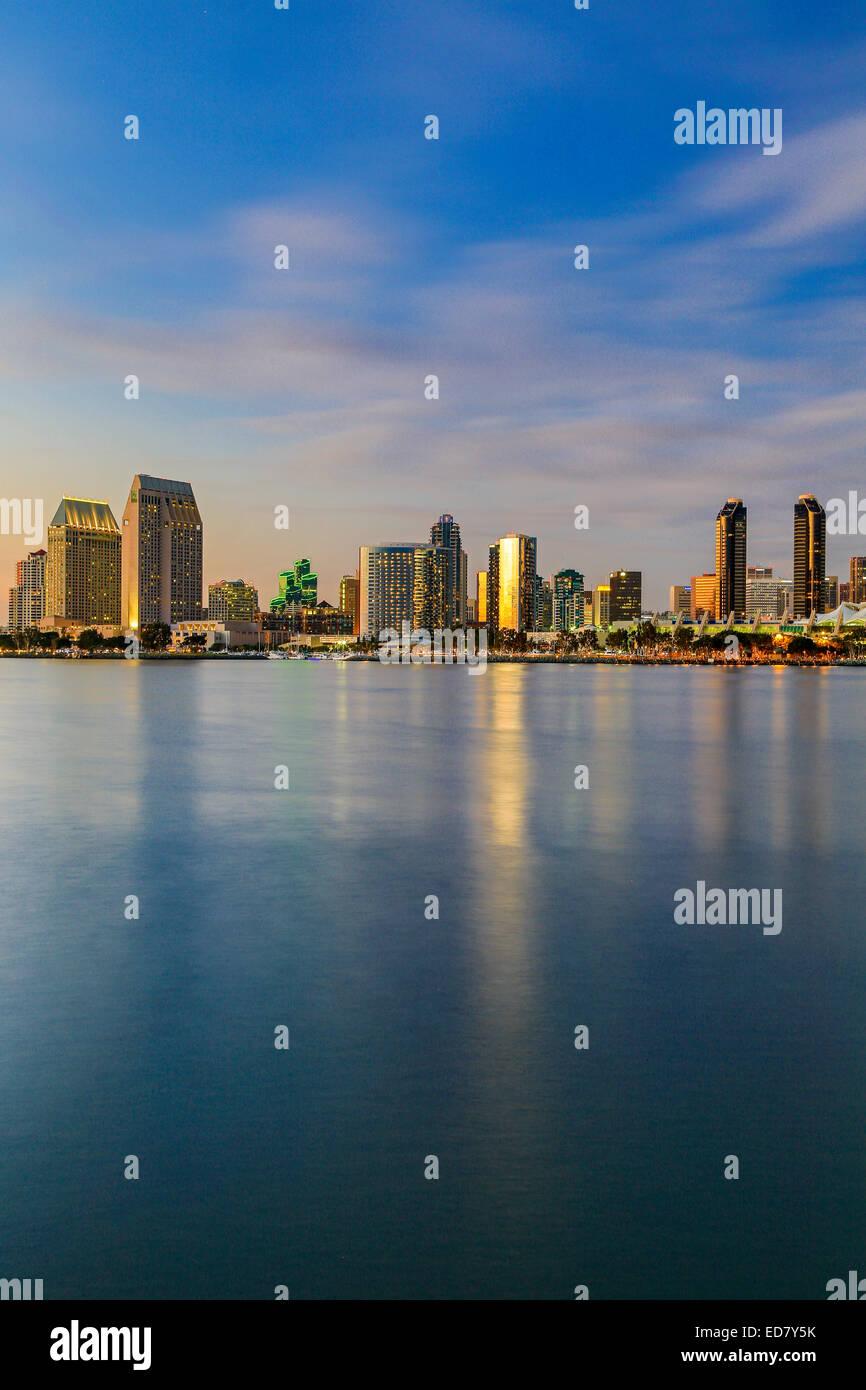 Skyline and San Diego Bay, San Diego, California USA - Stock Image