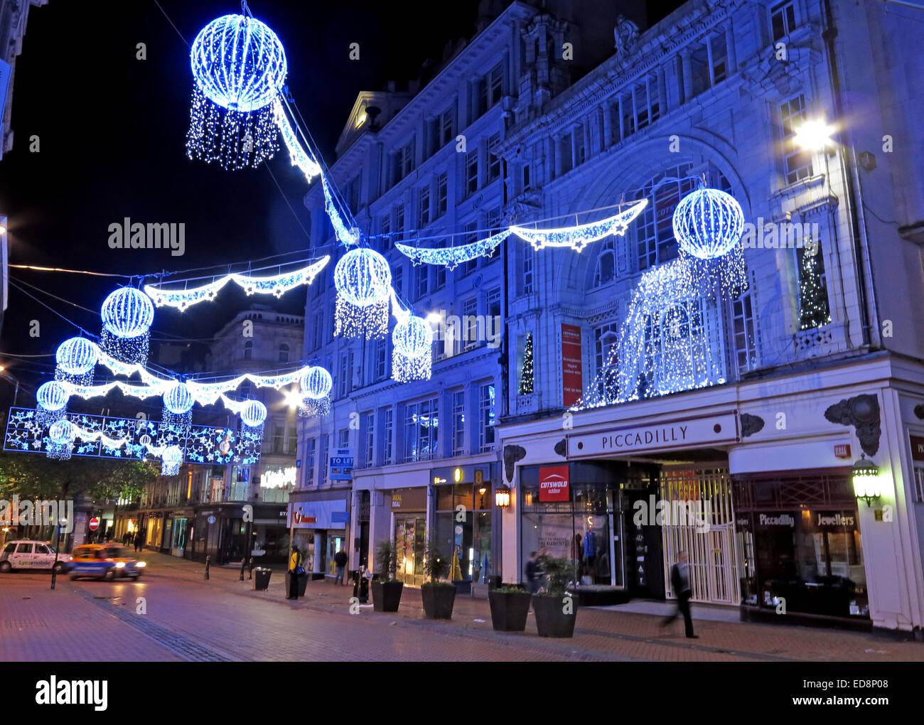 GB,United Kingdom,Great Britain,Christmas,New Street,shopping,shops,retail,festive,yuletide,nighttime,evening,dusk,blue,picadilly,piccadilly,arcade,West Midlands,England,UK,at,Night,decorated,Divali,annual,suspended,overhead,hanging,shopper,shopping,empty,lonely,Gotonysmith,frankfurt