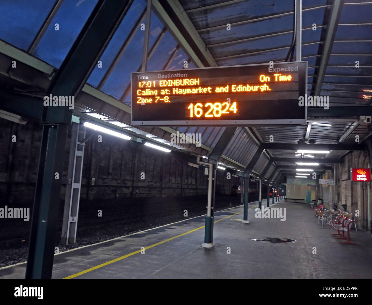 VT WCML West Coast Main Line Mainline dusk,next,Virgin,train,to,Edinburgh,night,nighttime,train,calling,at,Haymarket,railroad,track,railtrack,BR,British,Rail,BritishRail,GoTonySmith