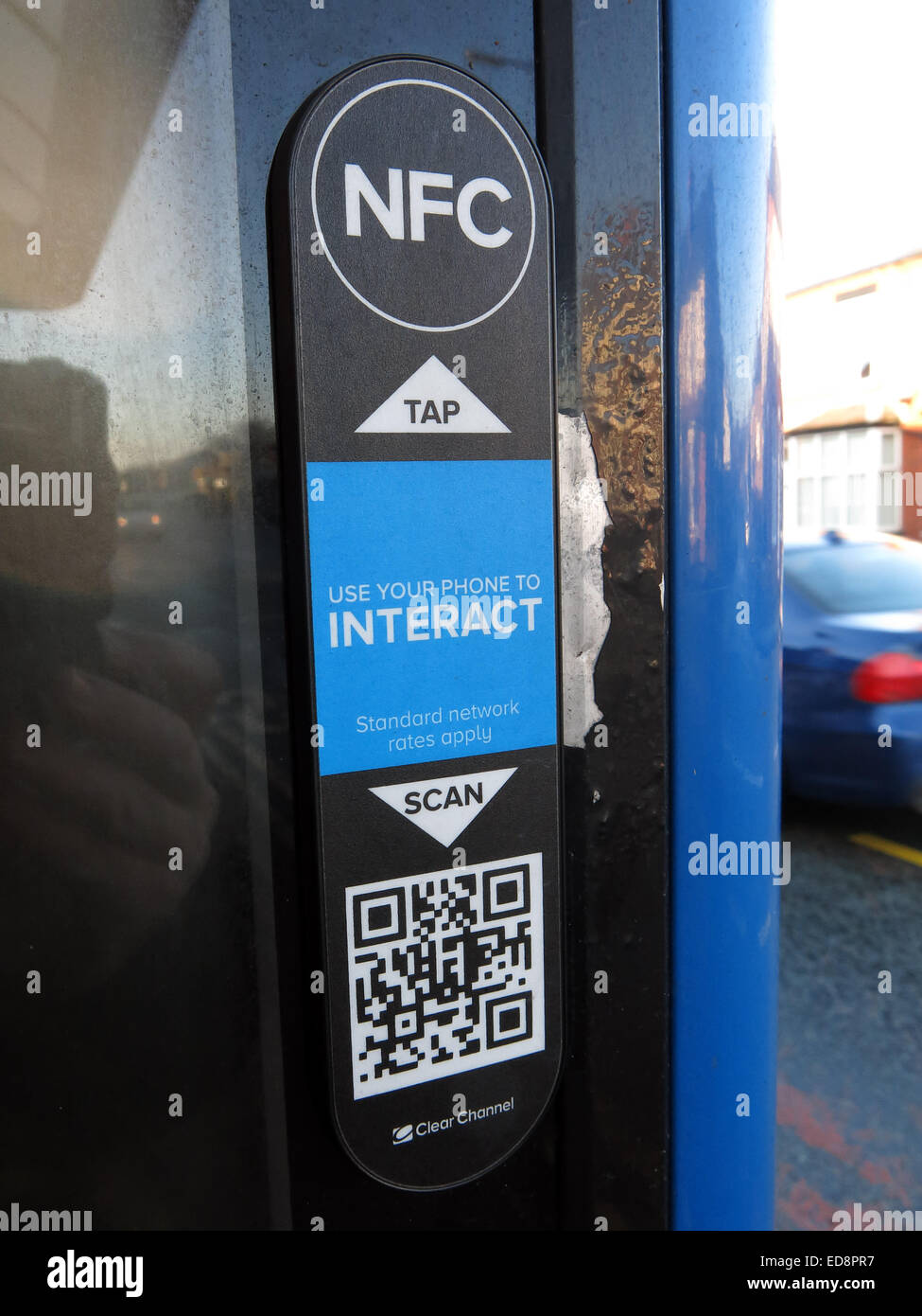 ClearChannel bus shelter ad,Grappenhall,Warrington,Cheshire,England,UK,scan,QR,reader,code,use,your,phone,to,interact,smart,smartphone,tech,technology,emerging,advertising,advertise,tap,radio,target,(acting,like,a,credential),NFC initiator (as a reader) and NFC peer to interact,GoTonySmith,blue,black,proximity,card,technology,Channels,Mobile,Platform,brings,Metro,Channels,busstop,stop,mobile,enabled,mobile-enabled,mobileenabled,informationlink,point,scan,scanner,street,shopping,link,linked,linking