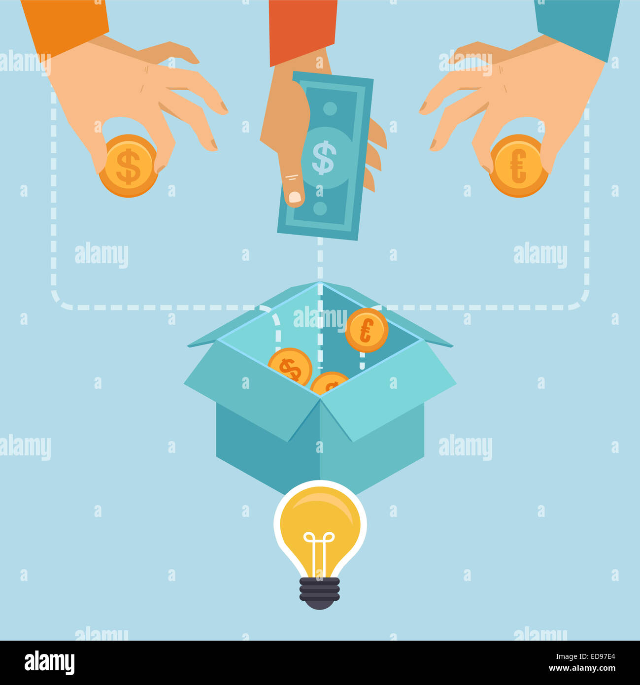 Crowdfunding concept in flat style - new business model - funding project by raising monetary contributions from - Stock Image