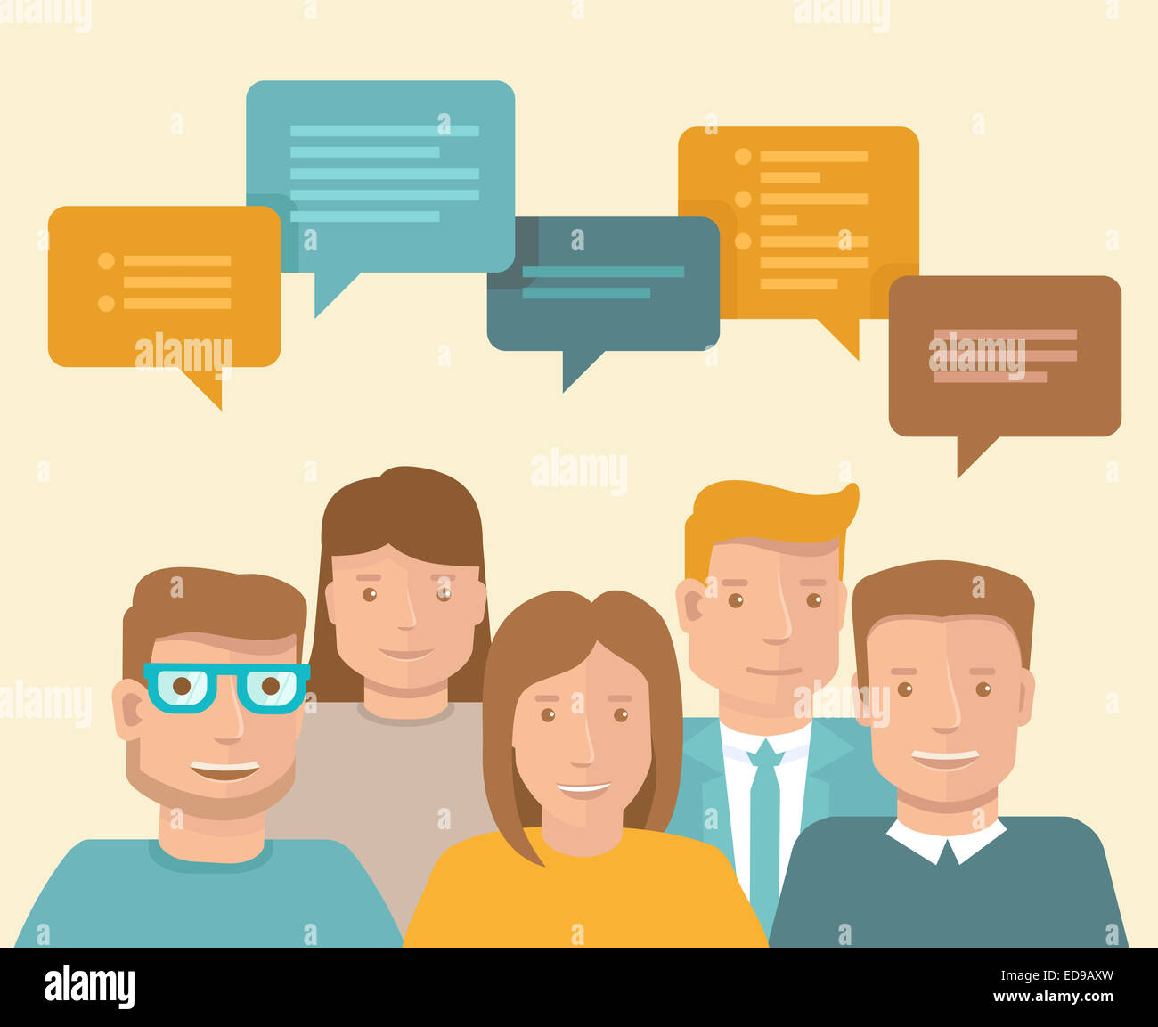 Flat concept - teamwork and brainstorming - business icons - Stock Image