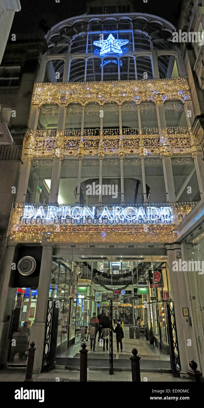 Christmas,Deansgate,and,St Anns Square,st,anns,sq,square,gradeII,listed,building,castiron,cast-iron,glass,iron,Macfarlane Saracen Glass Factory,shop,shops,Xmas,at,night,with,lights,England,UK,Gotonysmith,Buy Pictures of,Buy Images Of