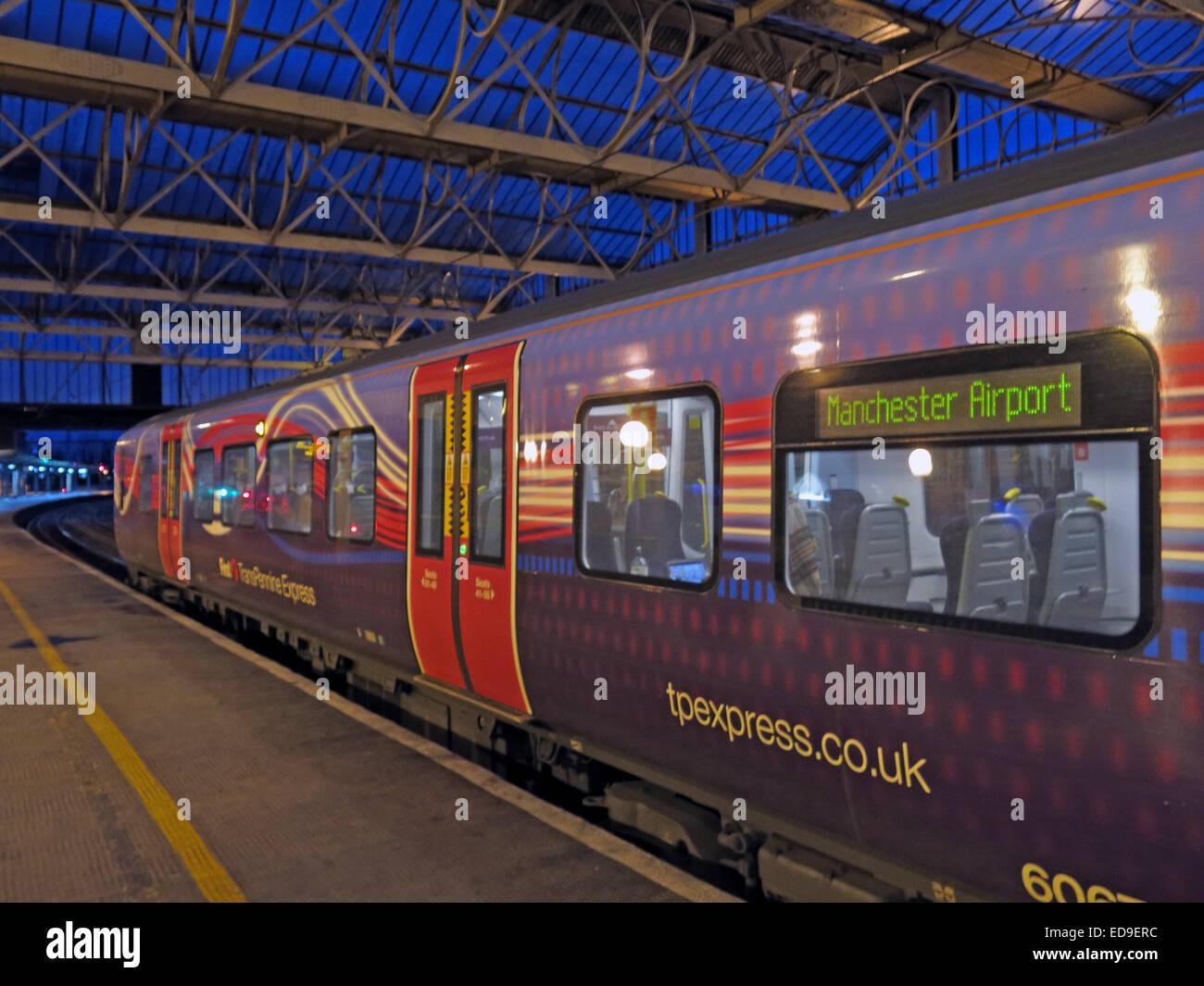 Airport,at,dusk,at,Carlisle,station,purple,platform,night,BR,British,rail,franchise,privatised,privitisation,doors,closed,express,Cumbria,transport,travel,GoTonySmith,Buy Pictures of,Buy Images Of