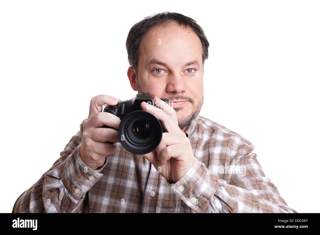 man with dslr camera - Stock Image