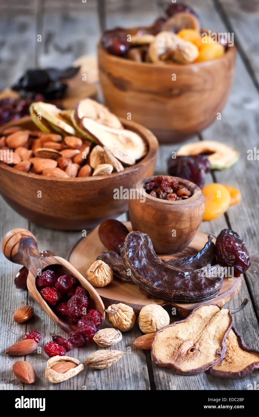 Mix of dried fruits and almonds - symbols of judaic holiday Tu Bishvat. - Stock Image