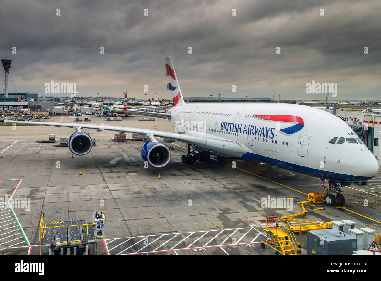 British Airways Airbus A380 at Terminal 5, Heathrow international airport, London, United Kingdom - Stock Image