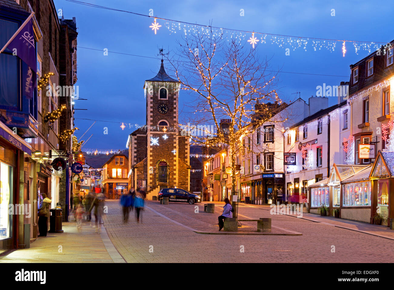 Keswick at dusk, with Christmas lights, Lake District National Park, Cumbria, England UKStock Photo