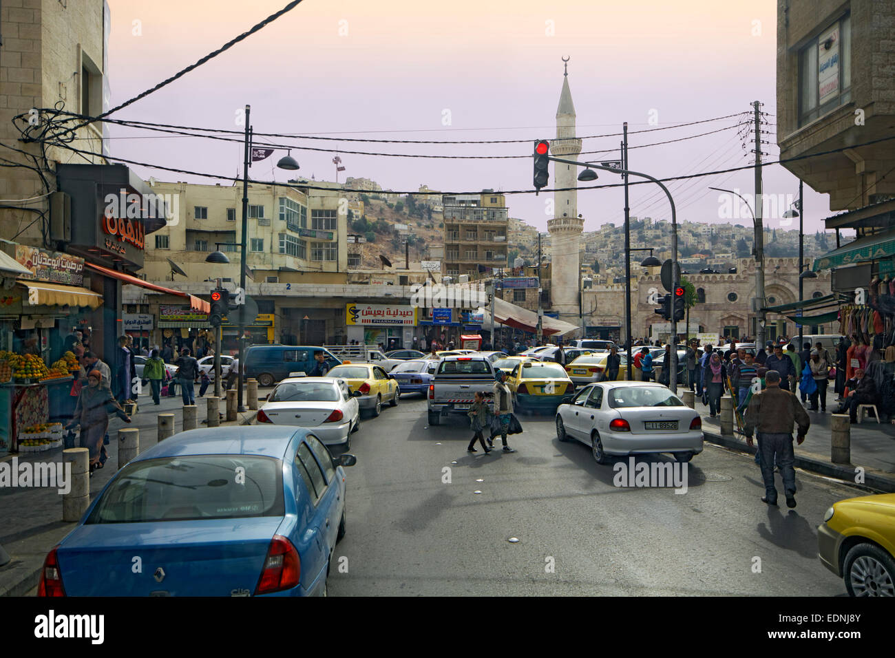 Street scene, road, mosque, Amman, Jordan - Stock Image