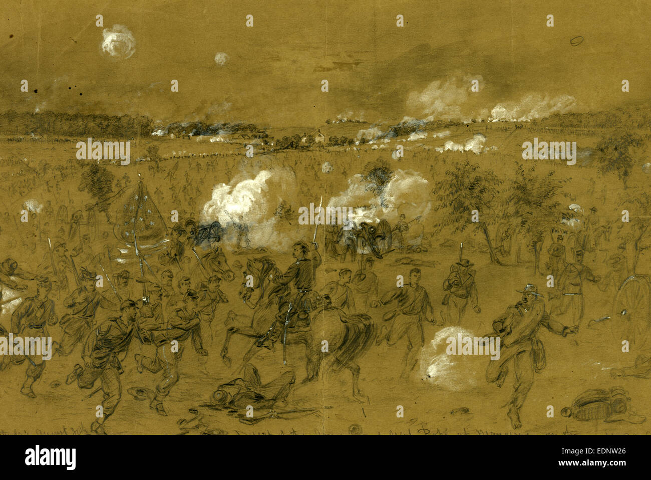 Defeat of the Army of Genl. Pope at Manassas on the Old Bull run battleground, drawing, 1862-1865, by Alfred R Waud, - Stock Image