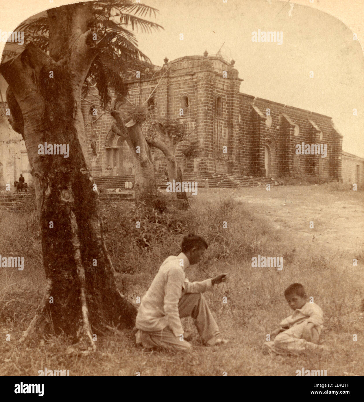 Church at Guadalupe destroyed by fire, Philippines, 1899, Vintage photography - Stock Image