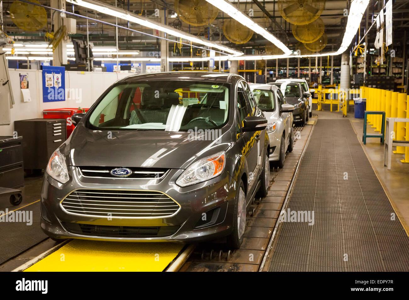 Wayne, Michigan - The Ford C-Max Hybrid at Ford's Michigan Assembly Plant. - Stock Image