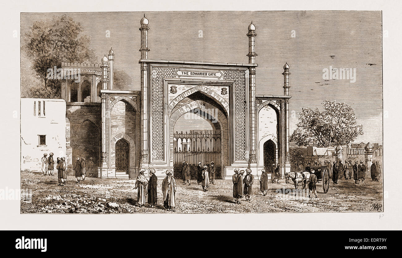 GATEWAY AT PESHAWAR, PAKISTAN, ERECTED TO THE MEMORY OF THE LATE SIR HERBERT EDWARDES, K.C.S.I., 1883 - Stock Image