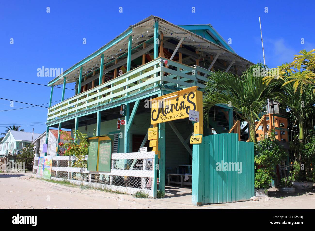 Marins Restaurant And Bar On On Caye Caulker Belize Stock Photo