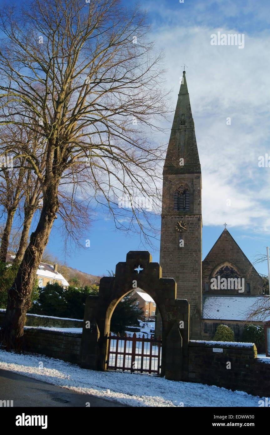 UK,Peak District,Bamford,St John The Baptist Church after Snowfall - Stock Image