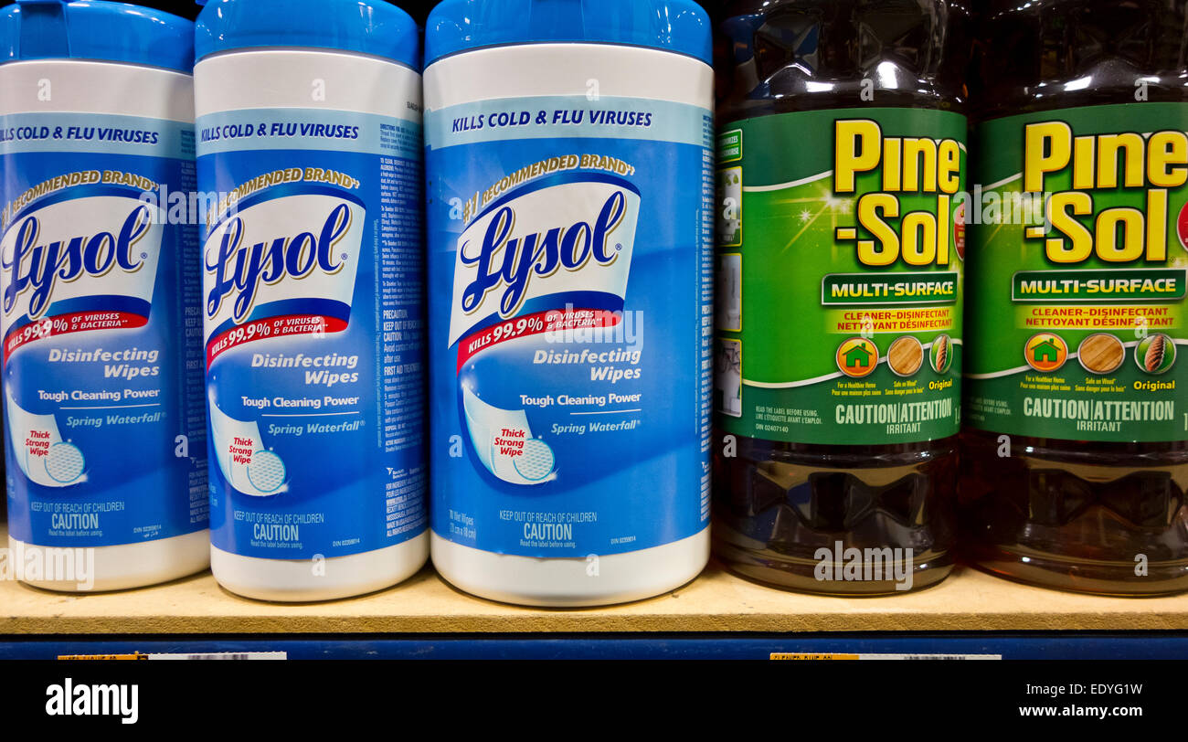 Household cleaning products used for disinfecting on a store shelf. Lysol disinfecting wipes and Pine-Sol. Stock Photo