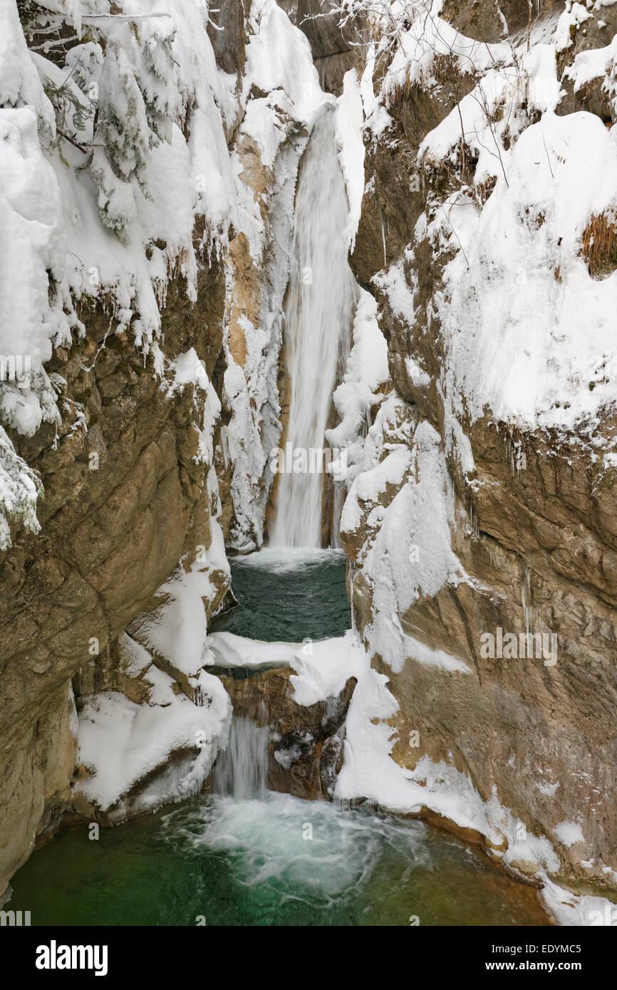 Tatzelwurm waterfall, lower level, Mangfall Mountains, Oberaudorf, Upper Bavaria, Bavaria, Germany - Stock Image