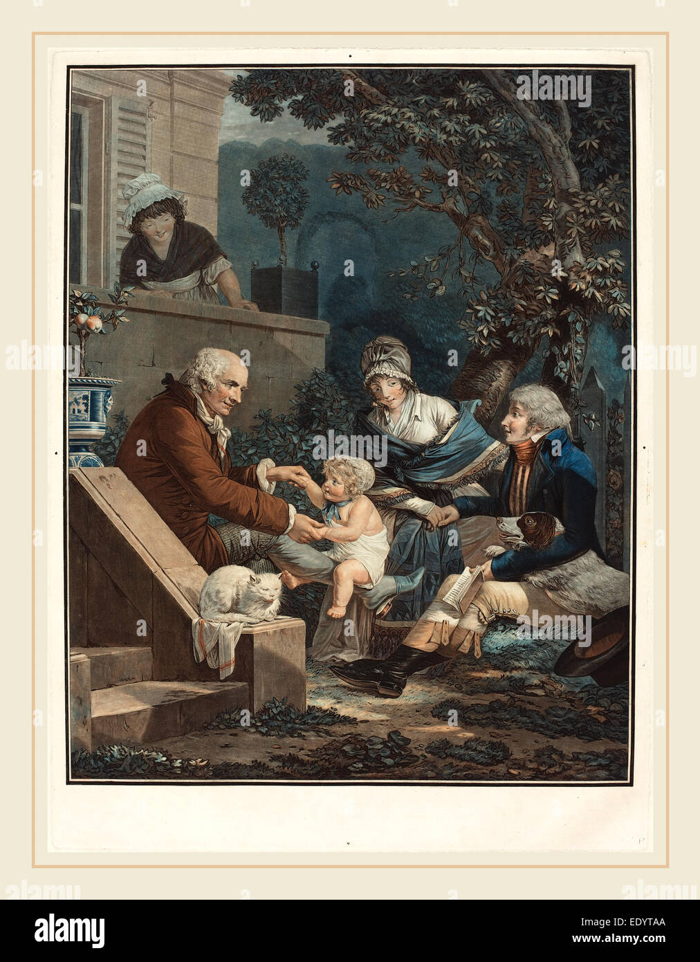 Philibert-Louis Debucourt, French (1755-1832), Les Plaisirs paternels (Paternal Pleasures), c. 1797, etching and - Stock Image