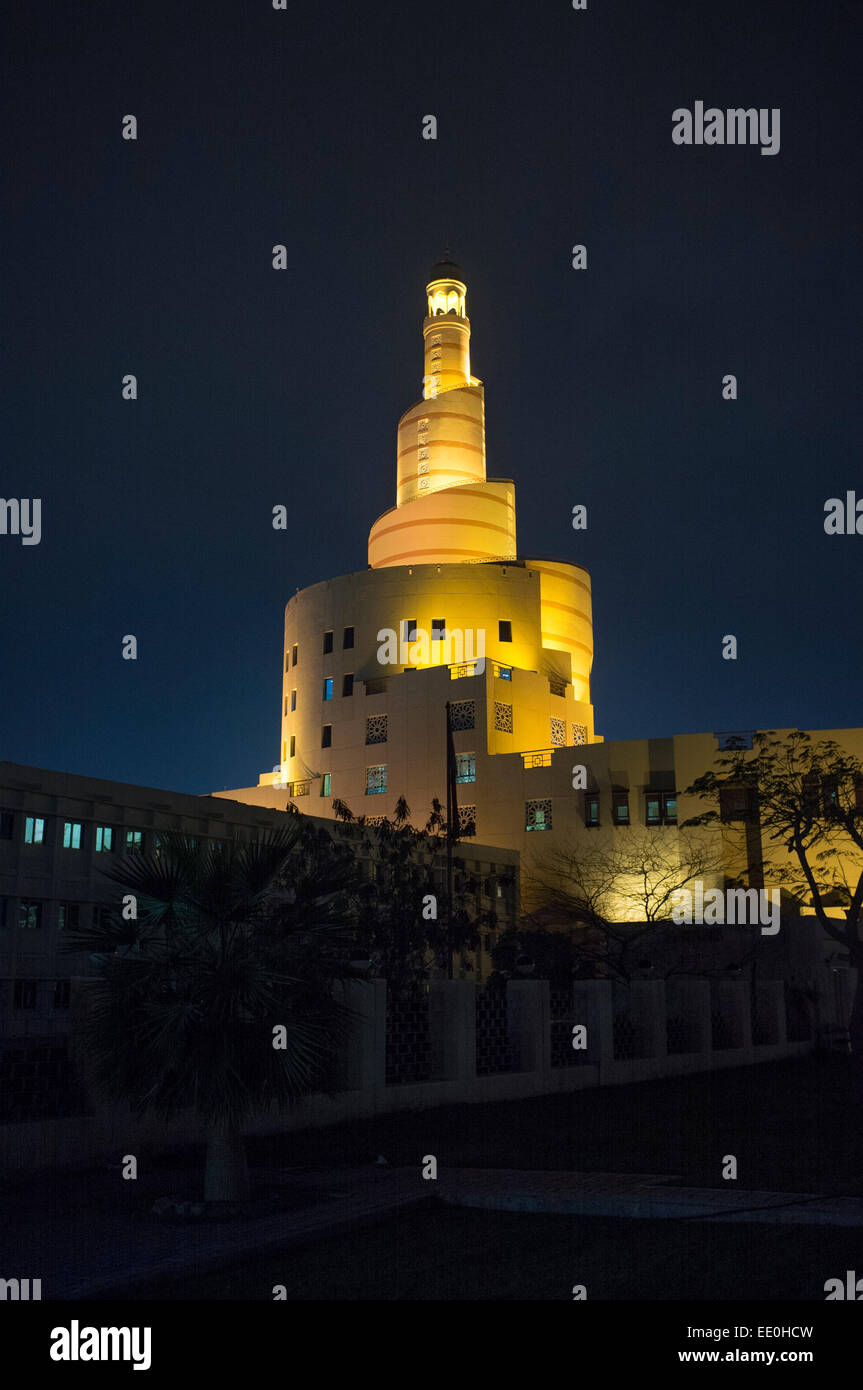 Qatar Islamic Cultural Centre mosque, Doha, Qatar, Middle East, by night - Stock Image