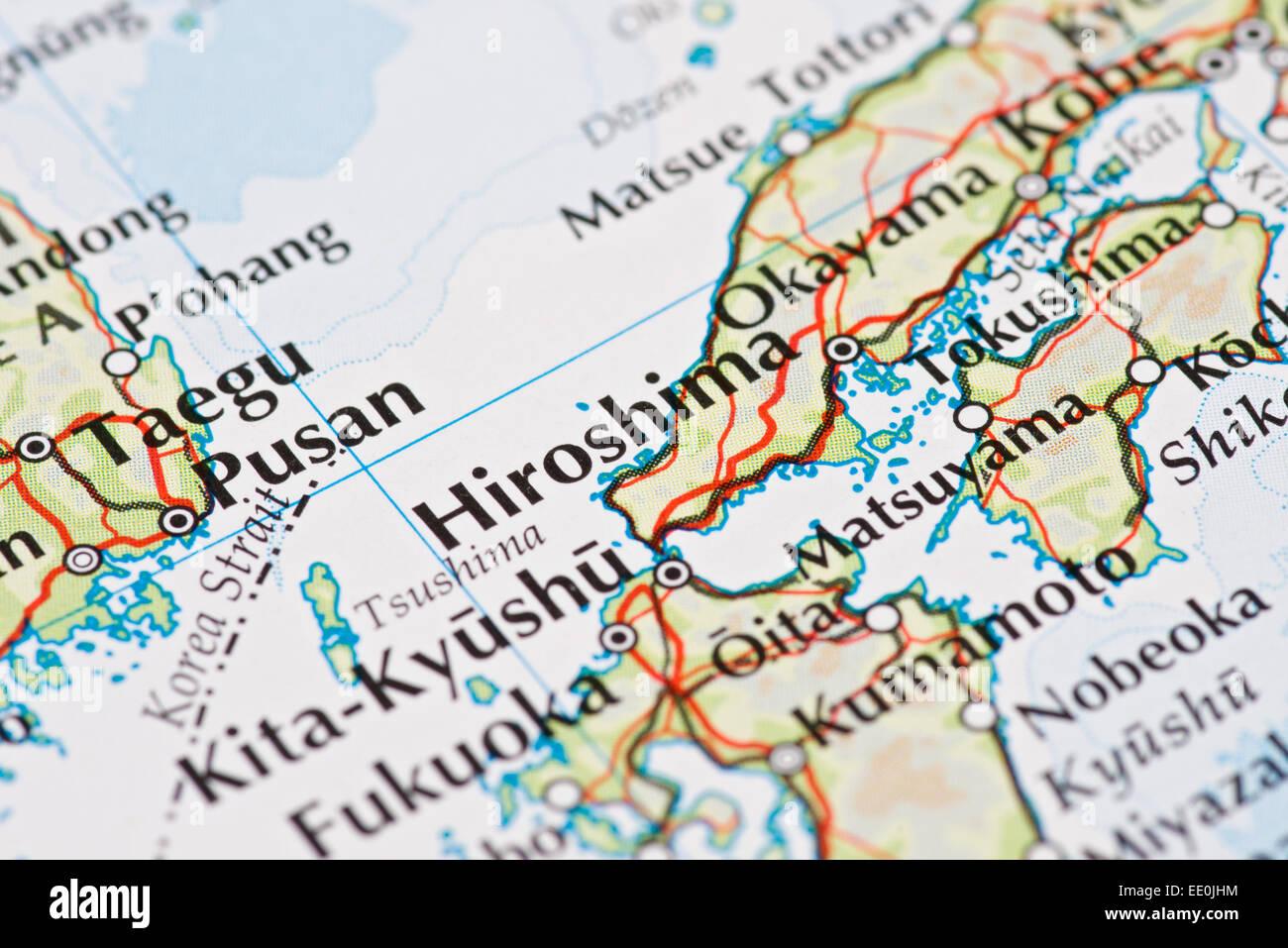 Close up of atlas map of Hiroshima Japan Stock Photo 77461264 Alamy