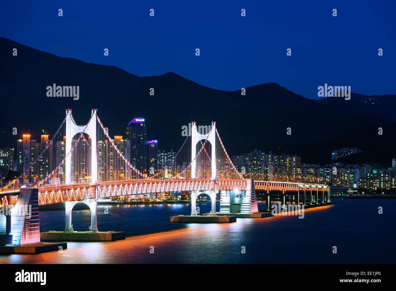 City skyline and Gwangang bridge, Busan, South Korea, Asia - Stock Image