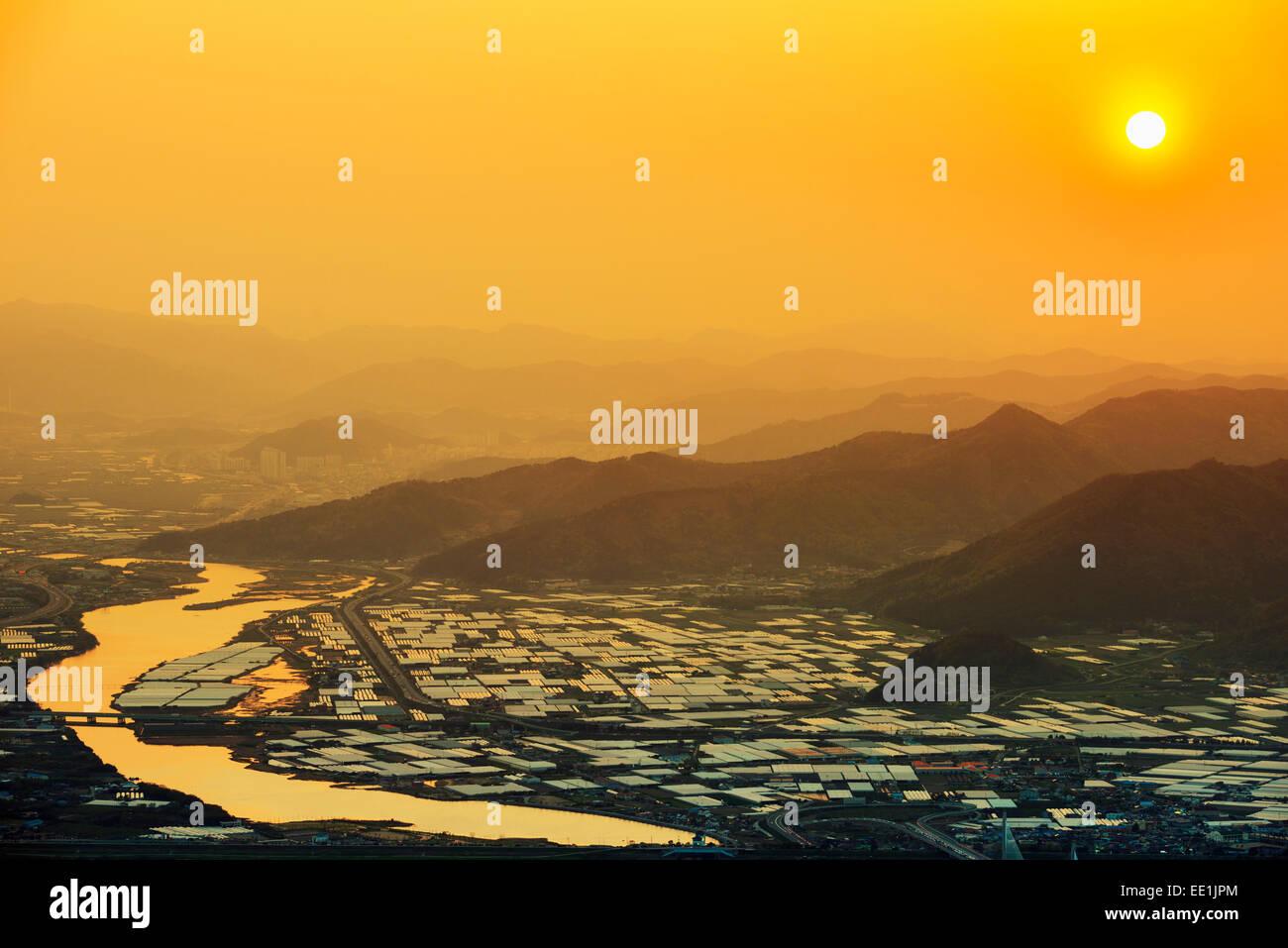Sunset over city, Busan, South Korea, Asia - Stock Image
