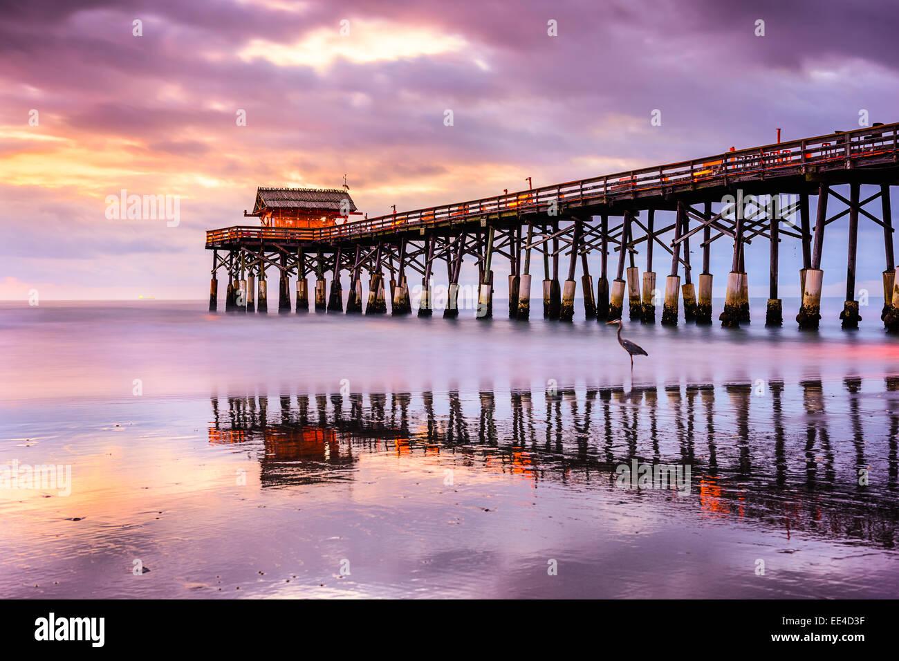 Cocoa Beach, Florida, USA at the pier. - Stock Image