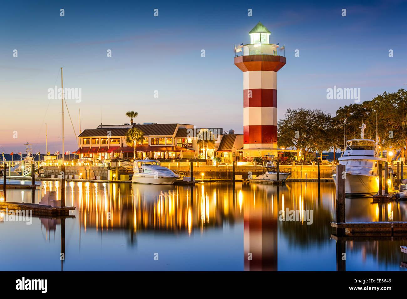Hilton Head, South Carolina, lighthouse at twilight. - Stock Image